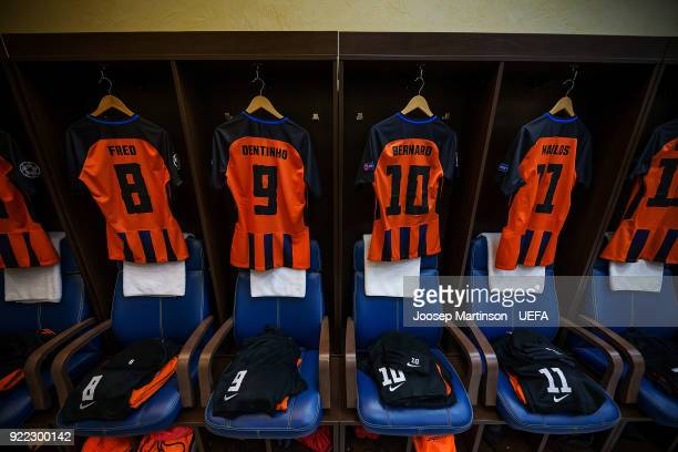 A general view of Shakhtar Donetsk dressing room during the UEFA Champions League Round of 16 First Leg match between Shakhtar Donetsk and AS Roma at...