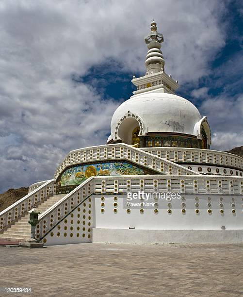 A general view of Shanti Stupa monastery on August 02 2011 in Leh east of Srinagar in Ladakh India Ladakh is a region within the northeastern most...