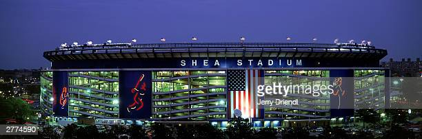 General view of Shea Stadium at dusk during the National League game between the Philadelphia Phillies and the New York Mets at Shea Stadium on July...
