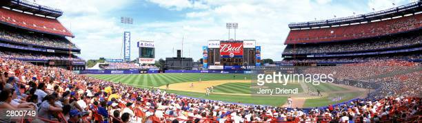 General view of Shea Stadium from the third base press box during the National League game between the Philadelphia Phillies and the New York Mets at...