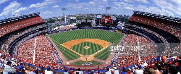 General view of Shea Stadium from the upper deck during the National League game between the Philadelphia Phillies and the New York Mets at Shea...