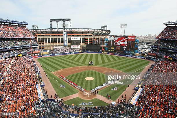 A general view of Shea Stadium with Citi Field in the background during the Final Opening Day game at Shea Stadium between the New York Mets and...