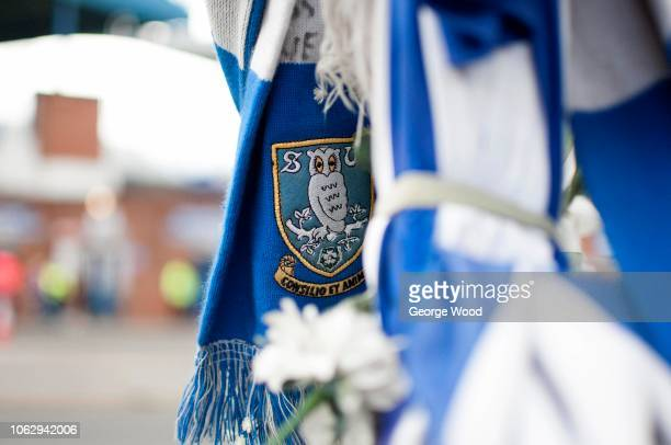 General view of Sheffield Wednesday logo on scarf prior to the Sky Bet Championship match between Sheffield Wednesday and Norwich City at...