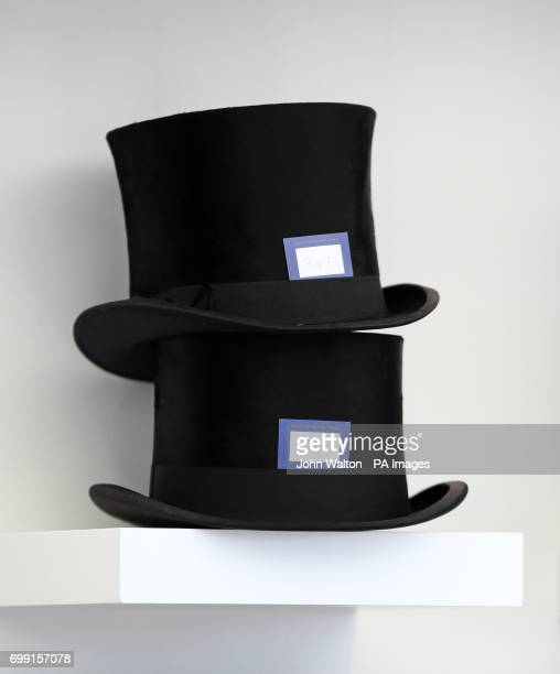 A general view of shelves stacked with top hats during day two of Royal Ascot at Ascot Racecourse