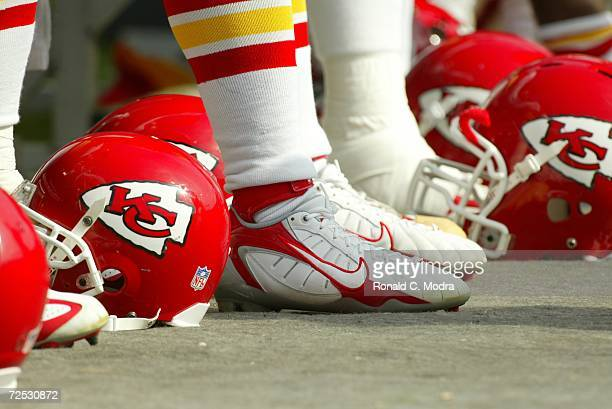 A general view of shoes and a helmet before the game between the Kansas City Chiefs and the Miami Dolphins at Dolphin Stadium on November 12 2006 in...