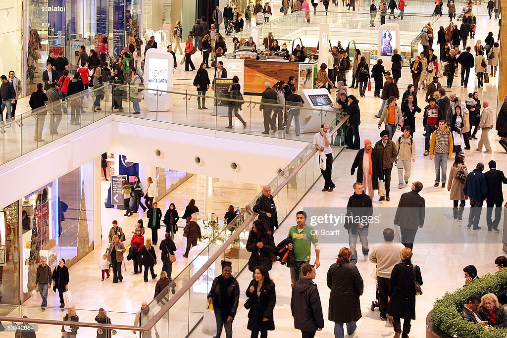 A general view of shoppers at the newly opened Westfield shopping centre on November 3, 2008 in the west London, England. Despite the current economic downturn in the retail industry, Europe's largest urban shopping mall, which opened to the public this week, is expected to attract 25 million shoppers each year to its 265 shops.