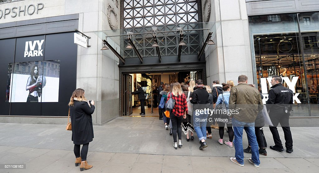 General view of shoppers queueing at TopShop as Beyonce's Ivy Park collection goes on sale on April 14, 2016 in London, England.