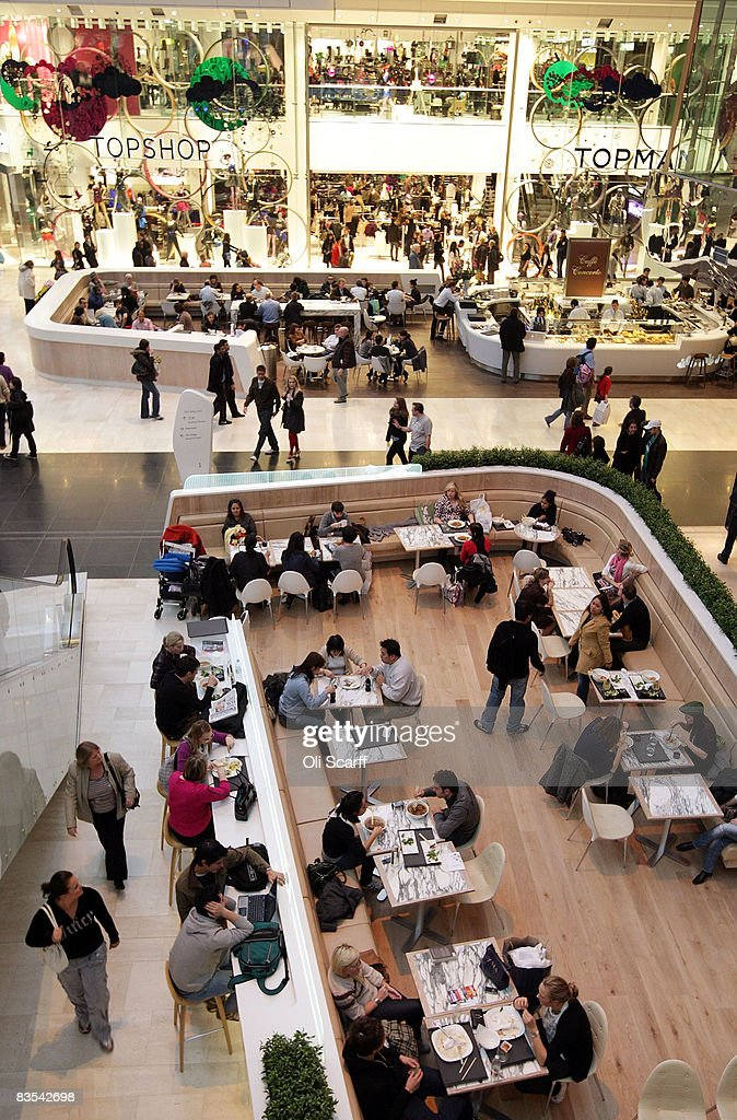 A general view of shoppers taking a break at restaurant areas at the newly opened Westfield shopping centre on November 3, 2008 in the west London, England. Despite the current economic downturn in the retail industry, Europe's largest urban shopping mall, which opened to the public this week, is expected to attract 25 million shoppers each year to its 265 shops.