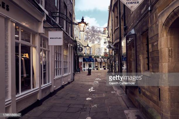General view of shops on November 10, 2020 in Cambridge, England. England entered a second national coronavirus lockdown on 5th November. People are...