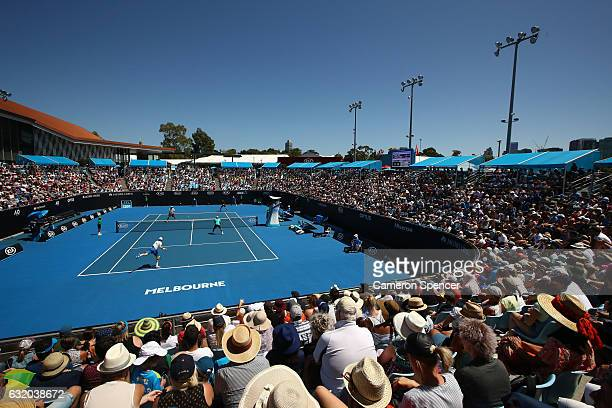 A general view of Show Court 2 during the first round match between JohnPatrick Smith and Matt Reid of Australia and Chris Cuccione and Sam Groth of...