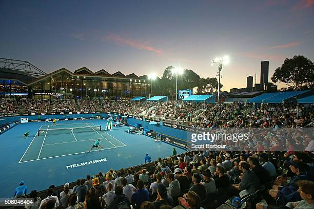 A general view of Show Court 3 as John Millman of Australia plays in his second round match against Gilles Muller of Luxembourg during day four of...
