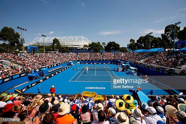 General view of Show Court 3 in the first round doubles match between Chris Guccione and Matthew Ebden of Australia against Mahesh Bhupathi and Rohan...