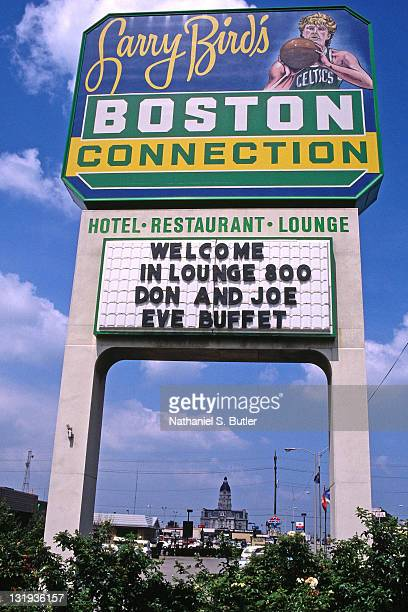 General view of sign in the hometown of Larry Bird of the Boston Celtics circa 1989 in French Lick Indiana NOTE TO USER User expressly acknowledges...