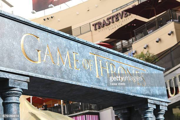 A general view of signage at HBO's 'Game of Thrones' Season 6 behind the scenes fan event at Hollywood Highland on December 9 2016 in Hollywood...
