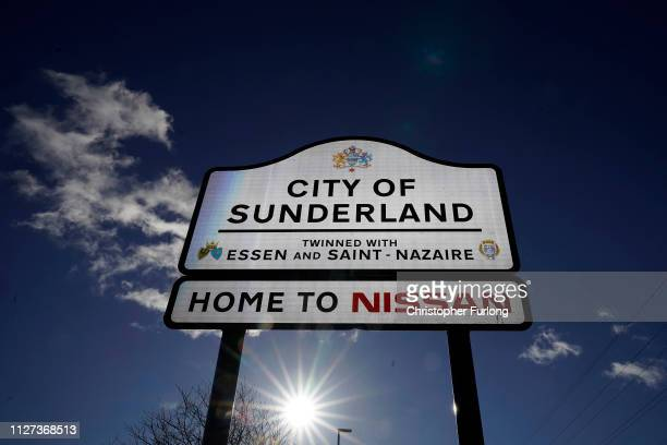 A general view of signage at near the Sunderland car assembly plant of Nissan on February 04 2019 in Sunderland England Nissan has announced to...