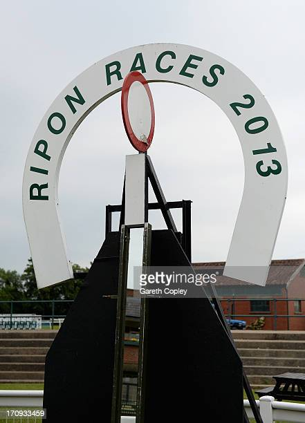 General view of signage at Ripon Racecourse on June 20 2013 in Ripon England