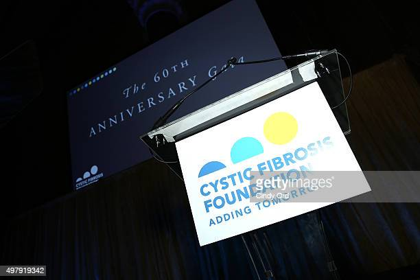 General view of signage at the Cystic Fibrosis Foundation's 60th Anniversary Gala on November 19 2015 in New York City