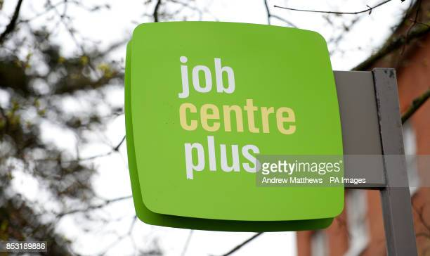 General view of signage for a Jobcentre Plus in Basingstoke
