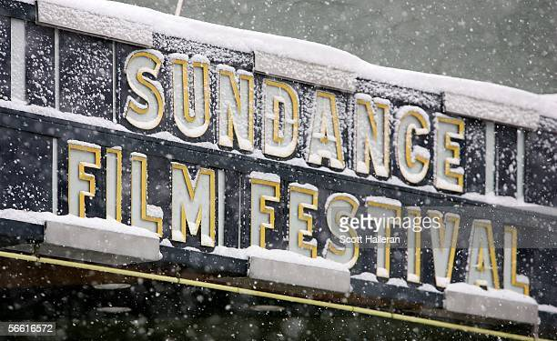General view of signage for the 2006 Sundance Film Festival on Main Street January 18 2006 in Park City Utah