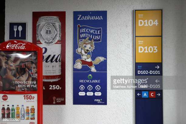 A general view of signage in the Fisht Olympic Stadium Sochi Russia host venue of the FIFA Confederations Cup Russia 2017 and FIFA World Cup 2018...