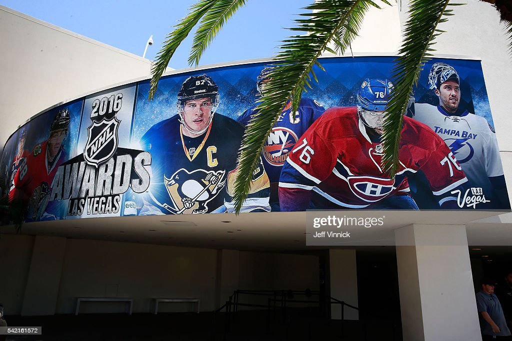 A general view of signage is seen prior to the 2016 NHL Awards at The Joint inside the Hard Rock Hotel & Casino on June 22, 2016 in Las Vegas, Nevada.