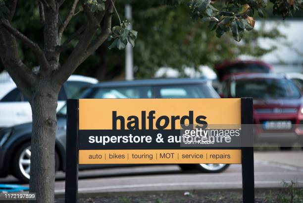 A general view of signage on an Halfords superstore and autocentre on September 3 2019 in Rayleigh England