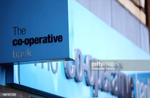 A general view of signage outside the Crewe branch of the Cooperative Bank on November 4 2013 in Crewe United Kingdom The Cooperative Bank has...