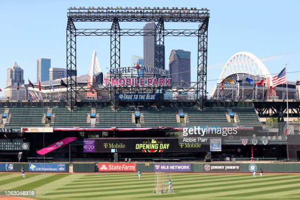 General view of signage prior to an Opening Day game between the Seattle Mariners and Oakland Athletics at T-Mobile Park on July 31, 2020 in Seattle,...