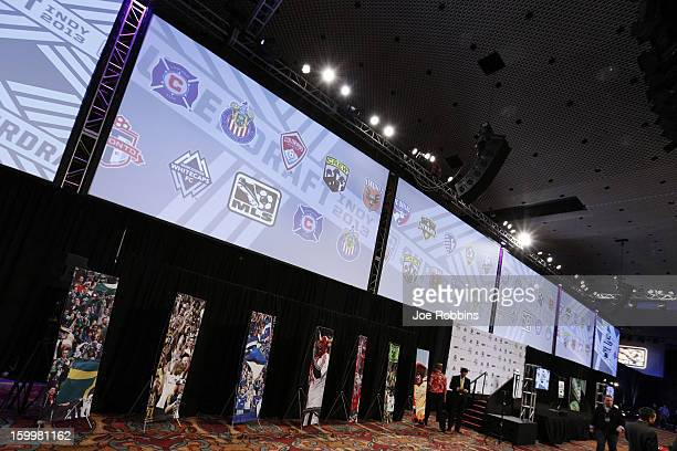 General view of signage prior to the 2013 MLS SuperDraft Presented by Adidas at the Indiana Convention Center on January 17 2013 in Indianapolis...