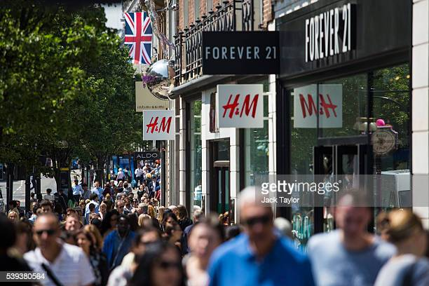A general view of signs and shoppers on Oxford Street on June 9 2016 in London England Conditions are tough for the High Street as retailers recorded...