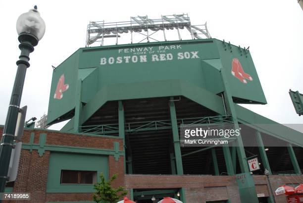 General view of signs outside of Fenway Park before game one of a double header between the Boston Red Sox and the Detroit Tigers at Fenway Park in...