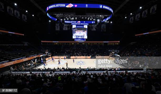 A general view of Sinan Erdem Dome during the 2017/2018 Turkish Airlines EuroLeague Regular Season Round 21 game between Anadolu Efes istanbul and...