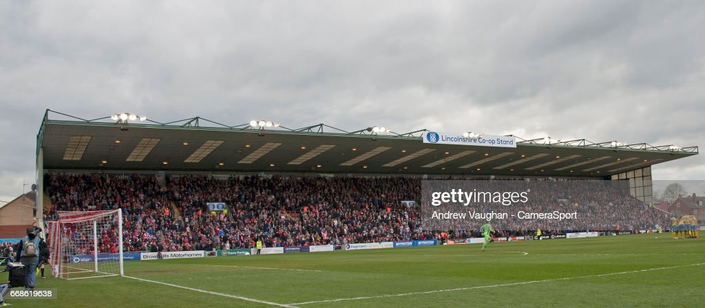 A general view of Sincil Bank, home of Lincoln City during the Vanarama National League match between Lincoln City and Torquay United at Sincil Bank Stadium on April 14, 2017 in Lincoln, England.
