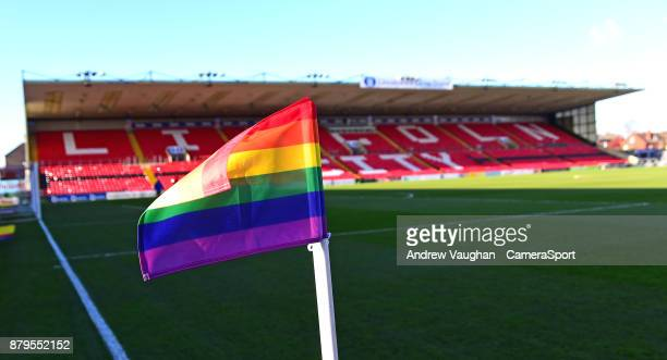 A general view of Sincil Bank home of Lincoln City FC showing the EFL antihomophobia rainbow corner flag during the Sky Bet League Two match between...