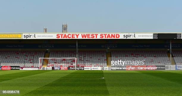 A general view of Sincil Bank home of Lincoln City FC showing the Stacey West Stand named in memory of Bill Stacey and Jim West who lost their lives...