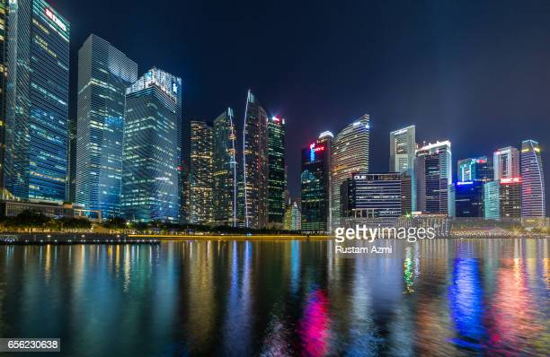 General View of Singapore Skyline at Night on September 17, 2016 in Singapore, Singapore.