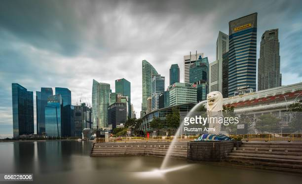 General View of Singapore Skyline from Merlion Park at Sunrise on September 18, 2016 in Singapore, Singapore.