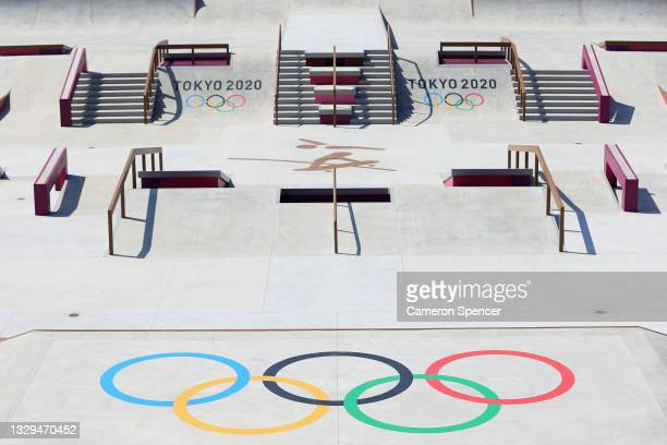 General view of Skateboarding Street venue at the Ariake Urban Sports Park ahead of the 2020 Tokyo Summer Olympic Games on July 19, 2021 in Tokyo,...