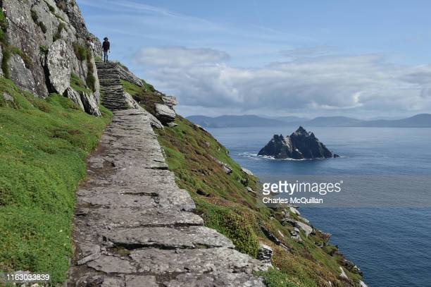 General view of Skellig Michael on August 21 2019 in Portmagee Ireland The island which is only accessible to visitors from May to September has seen...