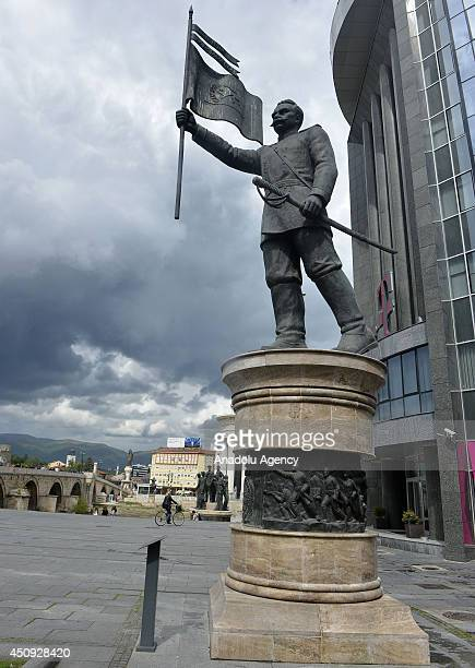 A general view of Skopje Macedonia on June 20 2014 as part of 'Skopje 2014' project which aim to give more classical appeal to the destroyed city by...