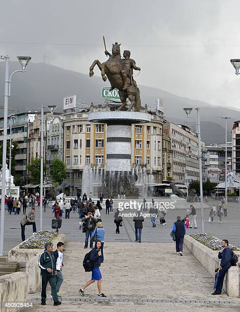 "General view of Skopje, Macedonia, on June 20, 2014 as part of ""Skopje 2014"" project which aim to give more classical appeal to the destroyed city by..."