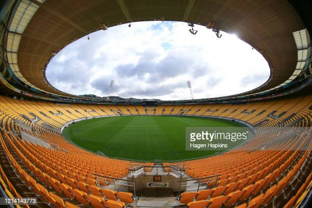 General view of Sky Stadium on March 23, 2020 in Wellington, New Zealand. Sporting codes across New Zealand have cancelled events in response to the...