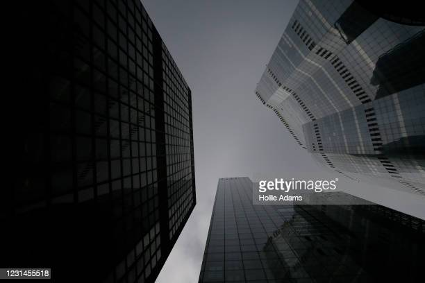 General view of skyscrapers in the City of London on March 1, 2021 in London, England. As the government prepares to present the 2021 Budget to...