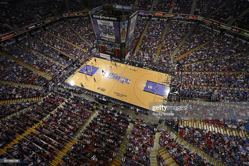 A general view of Sleep Train Arena during the game between the Los Angeles Clippers and Sacramento Kings on April 17, 2013 at Sleep Train Arena in Sacramento, California.