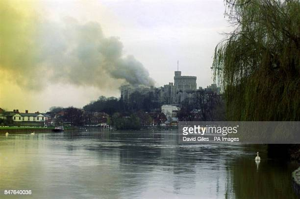 A general view of smoke in Windsor Castle after fire broke out in The Queen's Private Chapel