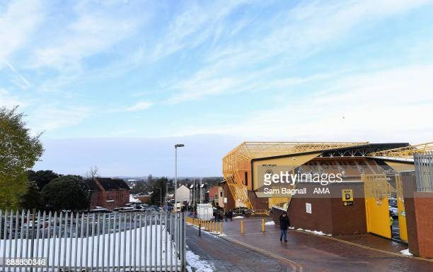 A general view of Snow around Molineux the home stadium of Wolverhampton Wanderers during the Sky Bet Championship match between Wolverhampton and...