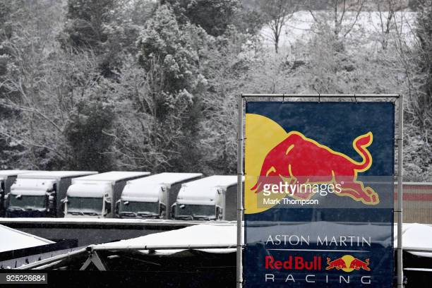 A general view of snow behind the Red Bull Racing hospitality suite during day three of F1 Winter Testing at Circuit de Catalunya on February 28 2018...
