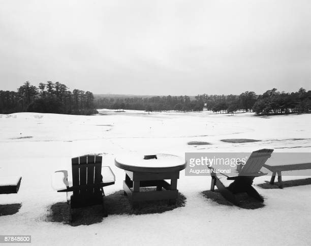 A general view of snow blanketing the fairways at Augusta National Golf Club in 1955 in Augusta Georgia