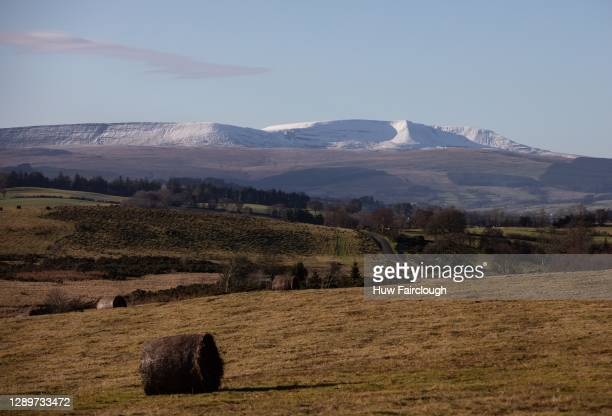General view of Snow Capped Mountains in the Brecon Beacons on December 6, 2020 at Brecon, Powys, Wales, United Kingdom.