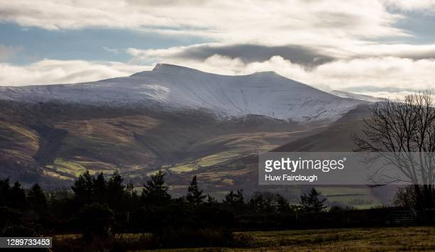 General view of Snow Capped Pen-y-Fan and Corn Du Mountains in the Brecon Beacons on December 6, 2020 at Brecon, Powys, Wales, United Kingdom.